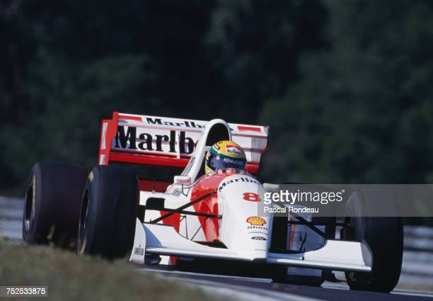 Ayrton Senna of Brazil drives the Marlboro McLaren McLaren MP4/8 Ford HBE7 V8 during the Hungarian Grand Prix on 15 August 1993 at the Hungaroring...