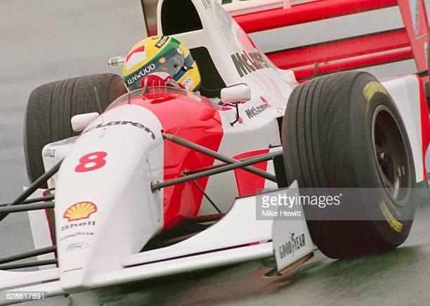 Ayrton Senna of Brazil drives the Marlboro McLaren MP48 Ford HB V8 in the rain during the Sega European Grand Prix on 11th April 1993 at the...
