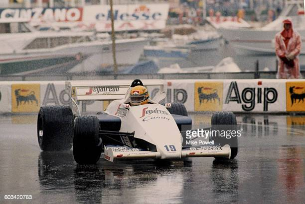 Ayrton Senna of Brazil drives the TolemanHart TG184 in the rain to second place during the Grand Prix of Monaco on 3 June 1984 on the streets of the...
