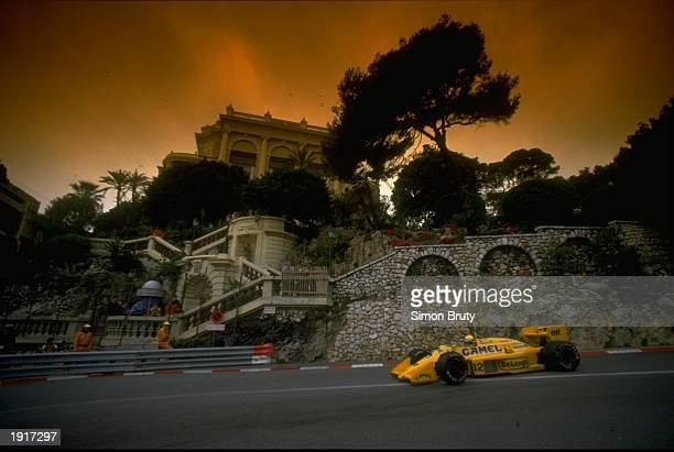 Ayrton Senna of Brazil in action in his Lotus Honda during the Monaco Grand Prix at the Monte Carlo circuit in Monaco Senna finished in first place...