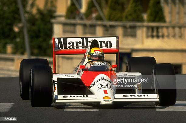 Ayrton Senna of Brazil in action in his McLaren Honda during the Monaco Grand Prix at the Monte Carlo circuit in Monaco Senna finished in first place...