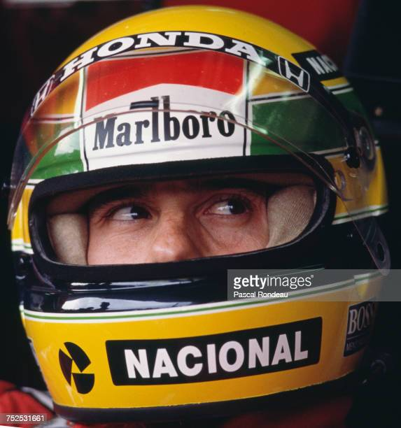 Ayrton Senna of Brazil sits aboard the Honda Marlboro McLaren McLaren MP4/5 Honda V10 before the Fuji Television Japanese Grand Prix on 22 October...