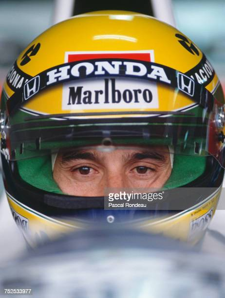 Ayrton Senna of Brazil sits aboard the Honda Marlboro McLaren McLaren MP4/5B Honda RA109E V10 during practice for the Mexican Grand Prix on 23 June...