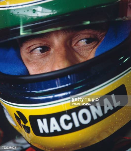 Ayrton Senna of Brazil sits aboard the Honda Marlboro McLaren MP47A Honda V12 during practice for the Tio Pepe Spanish Grand Prix on 2 May 1992 on...