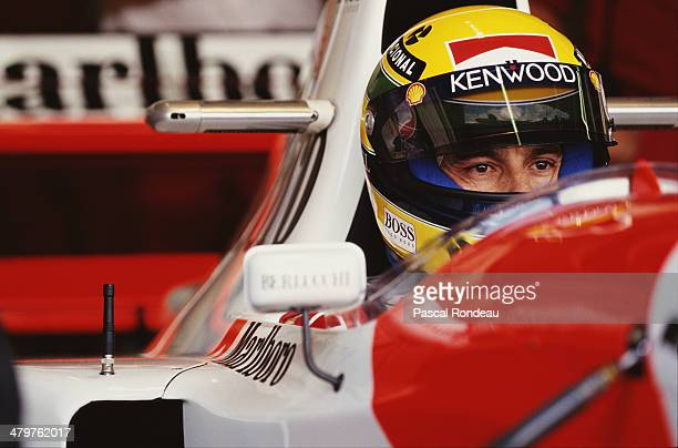 Ayrton Senna of Brazil sits aboard the Marlboro McLaren McLaren MP4/8 Ford HBE7 V10 during the Fuji Television Japanese Grand Prix on 23rd October...