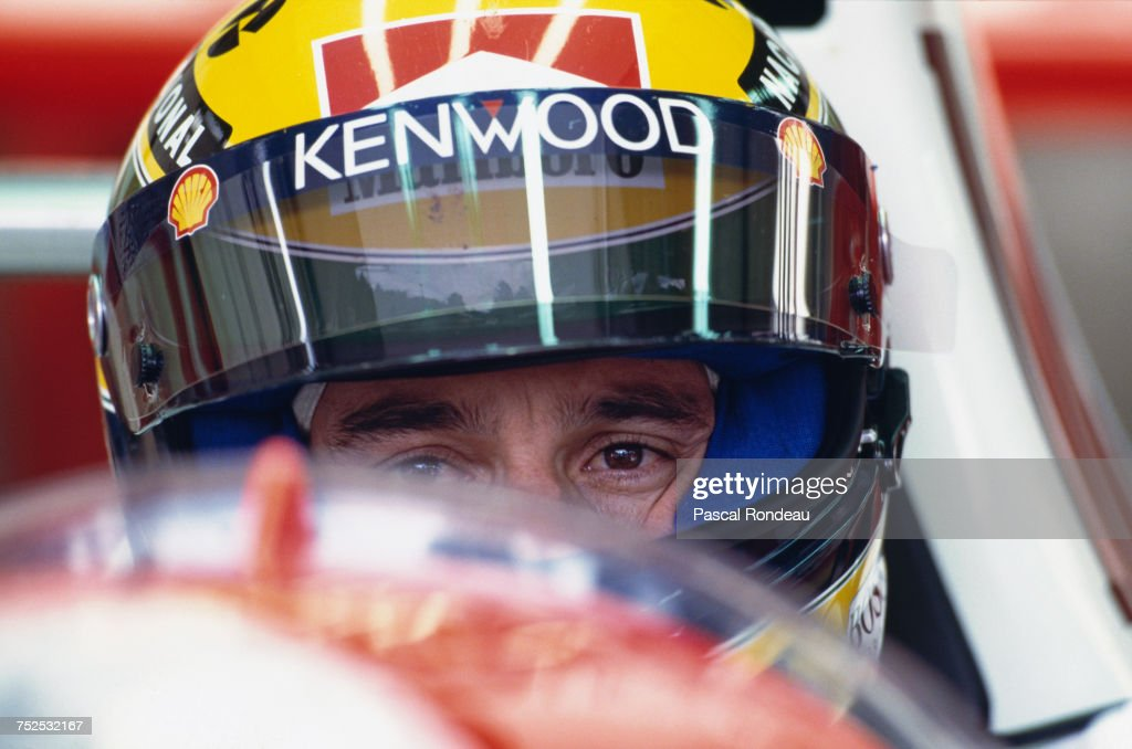 Ayrton Senna of Brazil sits aboard the #8 Marlboro McLaren McLaren MP4/8 Ford HBE7 V8 during the Belgian Grand Prix on 29 August 1993 at the Circuit de Spa Francorchamps in Spa Francorchamps, Belgium.