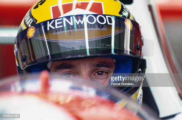 Ayrton Senna of Brazil sits aboard the Marlboro McLaren McLaren MP4/8 Ford HBE7 V8 during the Belgian Grand Prix on 29 August 1993 at the Circuit de...