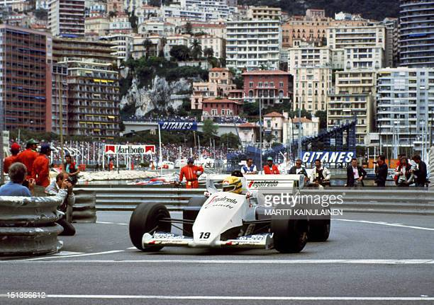 Ayrton Senna takes a curve 03 June 1984 during the MonteCarlo Formula One Grand prix Senna won the race