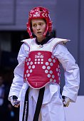 Ayse Beyza Yildiz of Turkey seen during the women's 46 kg qualifying match with WanTing Lin of Taiwan for the WTF World Taekwondo Championships 2015...