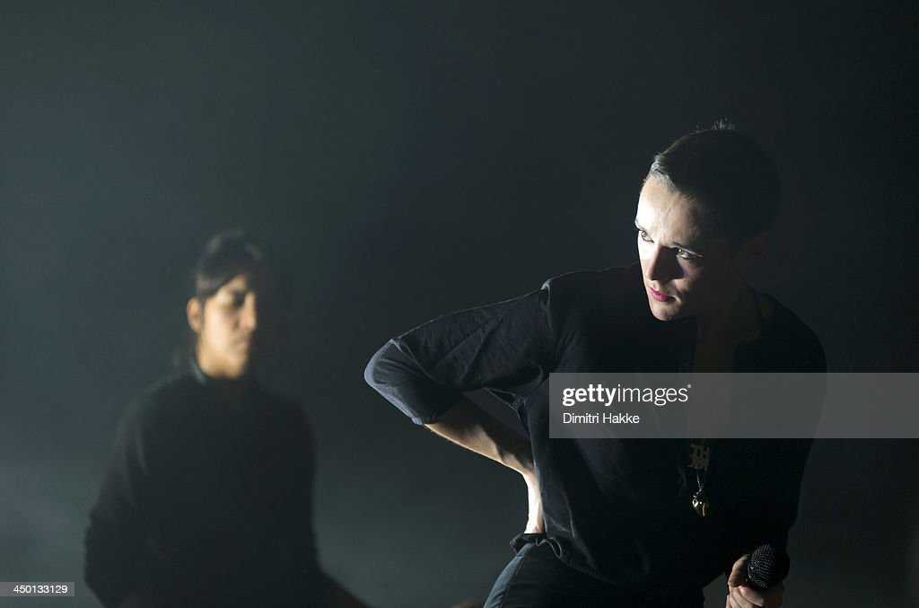 Ayse Hassan and Jehnny Beth of Savages perform on stage at Crossing Border Festival on November 16, 2013 in The Hague, Netherlands.