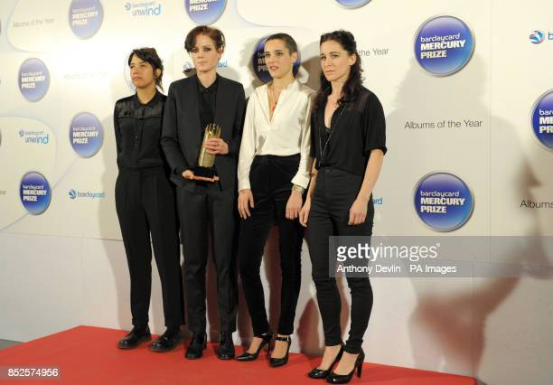 Ayse Hassan Gemma Thompson Jehnny Beth and Fay Milton of Savages arriving at the Barclaycard Mercury Music Prize ceremony at the Roundhouse Camden
