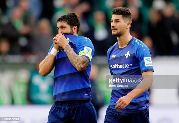 Aytac Sulu and Antonio Colak of SV Darmstadt 98 look dejected after losing the Bundesliga match between VfL Wolfsburg and SV Darmstadt 98 at...