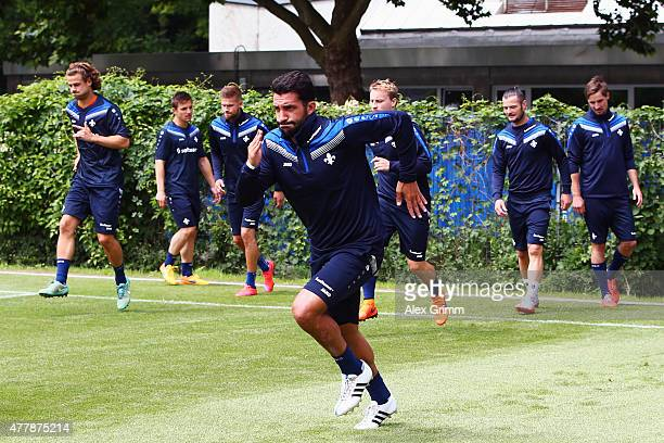 Aytac Sulu and team mates exercise during the first training session of SV Darmstadt 98 at HEAGStadion on June 20 2015 in Darmstadt Germany