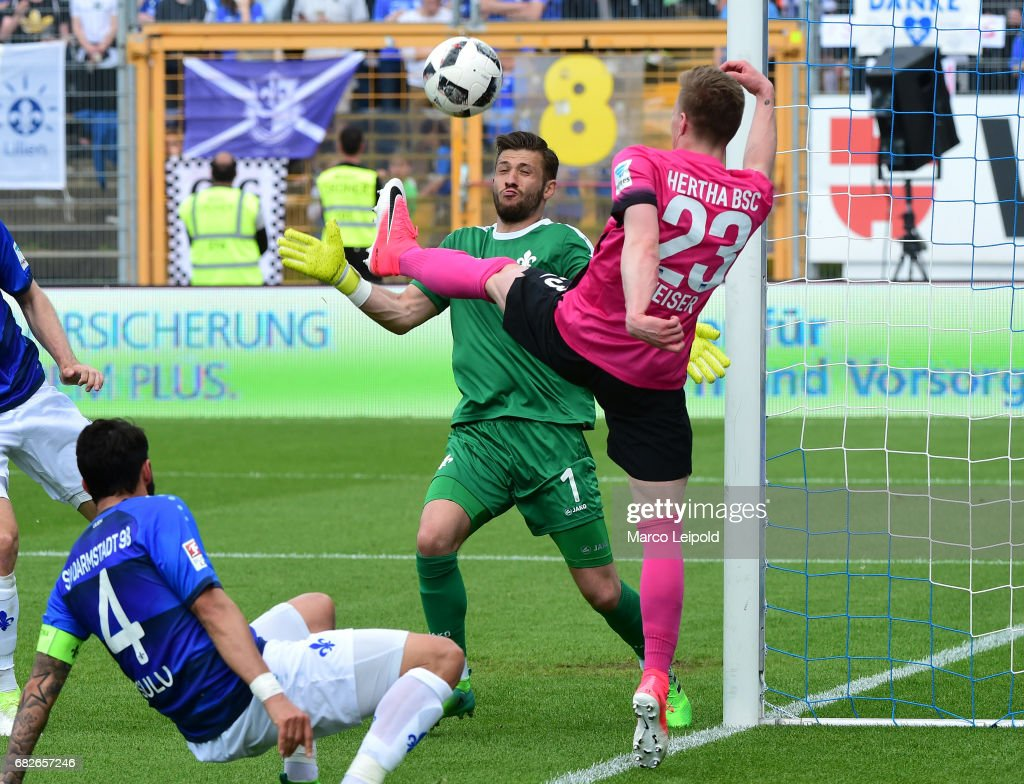 Aytac Sulu, Daniel Heuer Fernandes of SV Darmstadt 98 and Mitchell Weiser of Hertha BSC during the game between SV Darmstadt 98 and Hertha BSC on may 13, 2017 in Darmstadt, Germany.