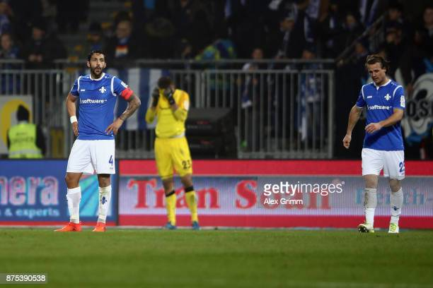 Aytac Sulu Goalkeeper Joel Mall and Yannick Stark of Darmstadt rect after Richard SukutaPasu of Sandhausen scored his team's second goal during the...