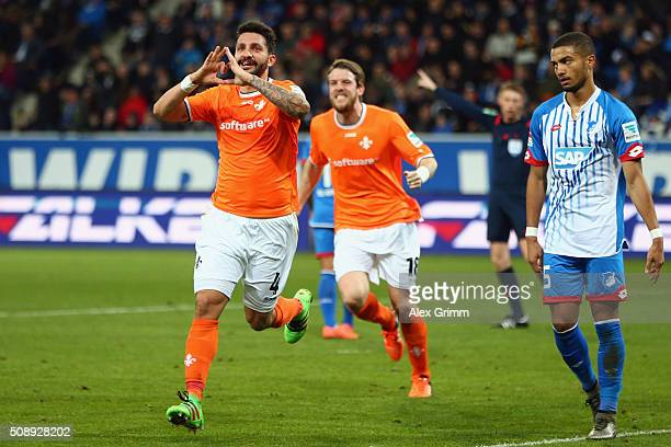 Aytac Sulu of Darmstadt celebrates his team's first goal during the Bundesliga match between 1899 Hoffenheim and SV Darmstadt 98 at Wirsol...