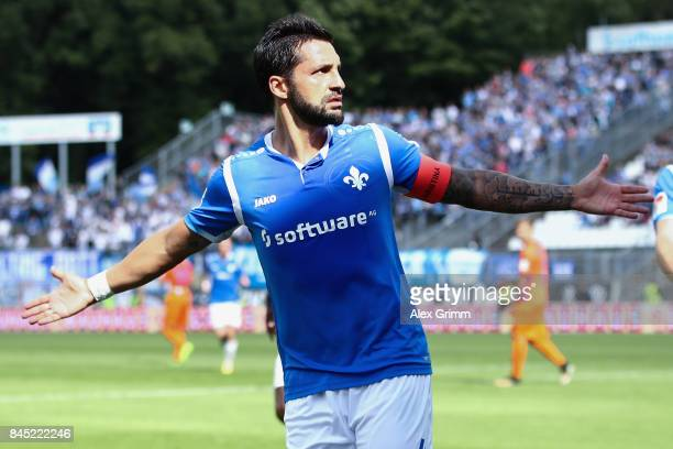 Aytac Sulu of Darmstadt celebrates his team's first goal during the Second Bundesliga match between SV Darmstadt 98 and VfL Bochum 1848 at...