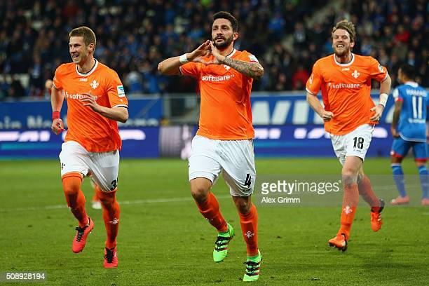 Aytac Sulu of Darmstadt celebrates his team's first goal with team mates during the Bundesliga match between 1899 Hoffenheim and SV Darmstadt 98 at...