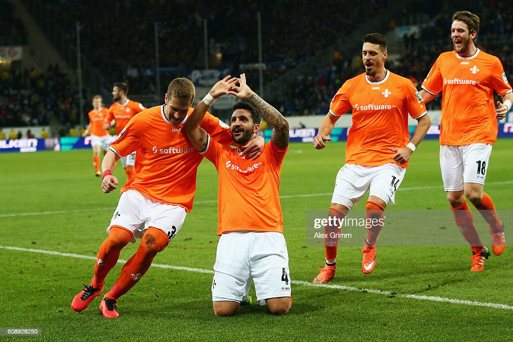 Aytac Sulu (2L) of Darmstadt celebrates his team's first goal with team mates during the Bundesliga match between 1899 Hoffenheim and SV Darmstadt 98 at Wirsol Rhein-Neckar-Arena on February 7, 2016 in Sinsheim, Germany.