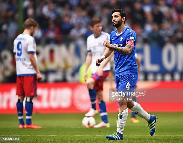 Aytac Sulu of Darmstadt celebrates scoring his goal during the Bundesliga match between Hamburger SV and SV Darmstadt 98 at Volksparkstadion on April...