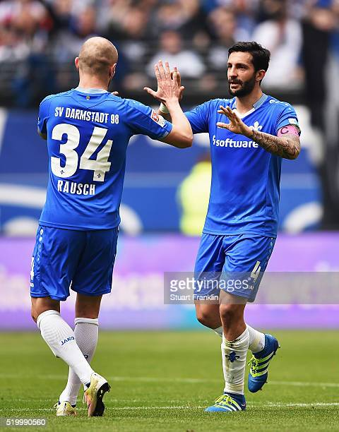 Aytac Sulu of Darmstadt celebrates scoring his goal with Michael Gregoritsch during the Bundesliga match between Hamburger SV and SV Darmstadt 98 at...