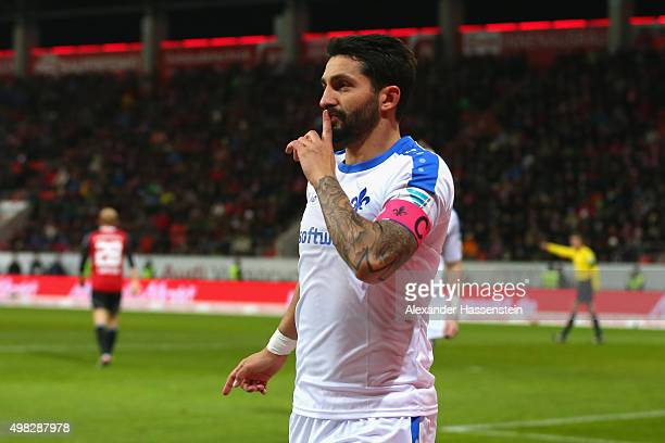 Aytac Sulu of Darmstadt celebrates scoring the opening goal during the Bundesliga match between FC Ingolstadt and SV Darmstadt 98 at Audi Sportpark...