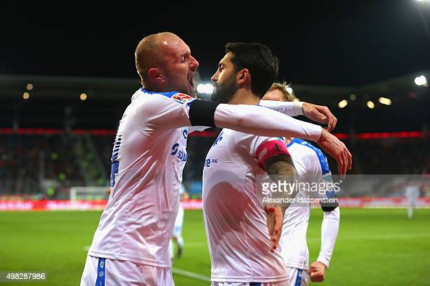 Aytac Sulu of Darmstadt celebrates scoring the opening goal with his team mate Konstantin Rausch during the Bundesliga match between FC Ingolstadt...