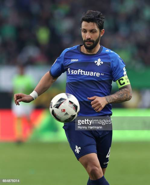 Aytac Sulu of Darmstadt focusses the ball during the Bundesliga match between VfL Wolfsburg and SV Darmstadt 98 at Volkswagen Arena on March 18 2017...