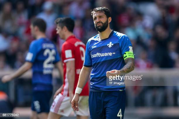 Aytac Sulu of Darmstadt gestures during the Bundesliga match between Bayern Muenchen and SV Darmstadt 98 at Allianz Arena on May 6 2017 in Munich...