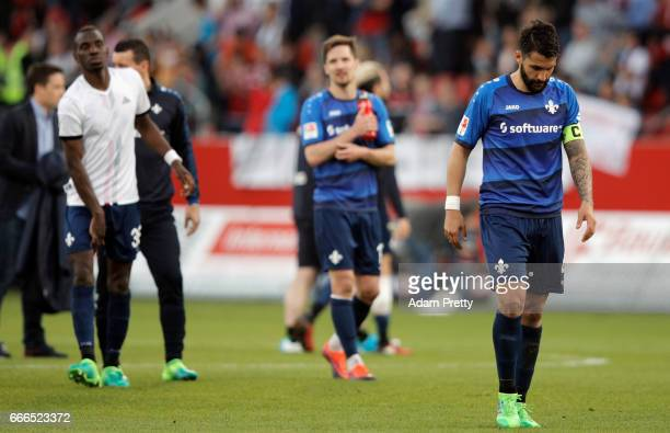 Aytac Sulu of Darmstadt reacts after the Bundesliga match between FC Ingolstadt 04 and SV Darmstadt 98 at Audi Sportpark on April 9 2017 in...