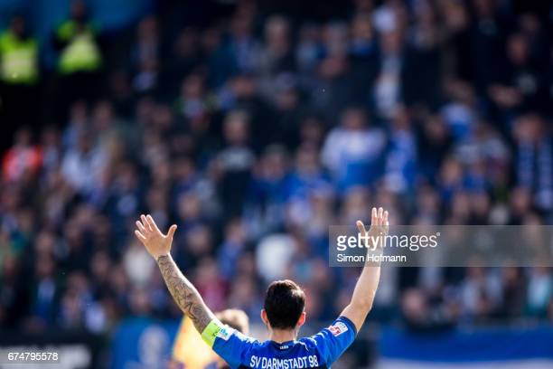 Aytac Sulu of Darmstadt reacts during the Bundesliga match between SV Darmstadt 98 and SC Freiburg at Stadion am Boellenfalltor on April 29 2017 in...