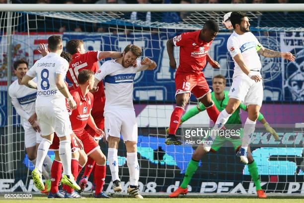Aytac Sulu of Darmstadt scores his team's first goal during the Bundesliga match between SV Darmstadt 98 and 1 FSV Mainz 05 at JonathanHeimesStadion...