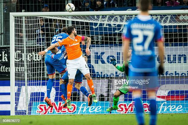 Aytac Sulu of Darmstadt scores his team's first goal with a header during the Bundesliga match between 1899 Hoffenheim and SV Darmstadt 98 at Wirsol...