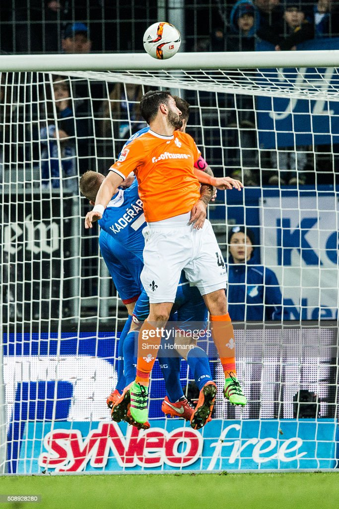 Aytac Sulu of Darmstadt scores his team's first goal with a header during the Bundesliga match between 1899 Hoffenheim and SV Darmstadt 98 at Wirsol Rhein-Neckar-Arena on February 7, 2016 in Sinsheim, Germany.