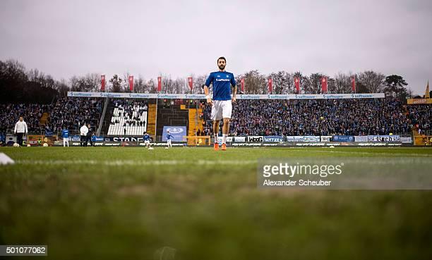 Aytac Sulu of SV Darmstadt 98 warmsup during the First Bundesliga match between SV Darmstadt 98 and Hertha BSC at MerckStadion am Boellenfalltor on...