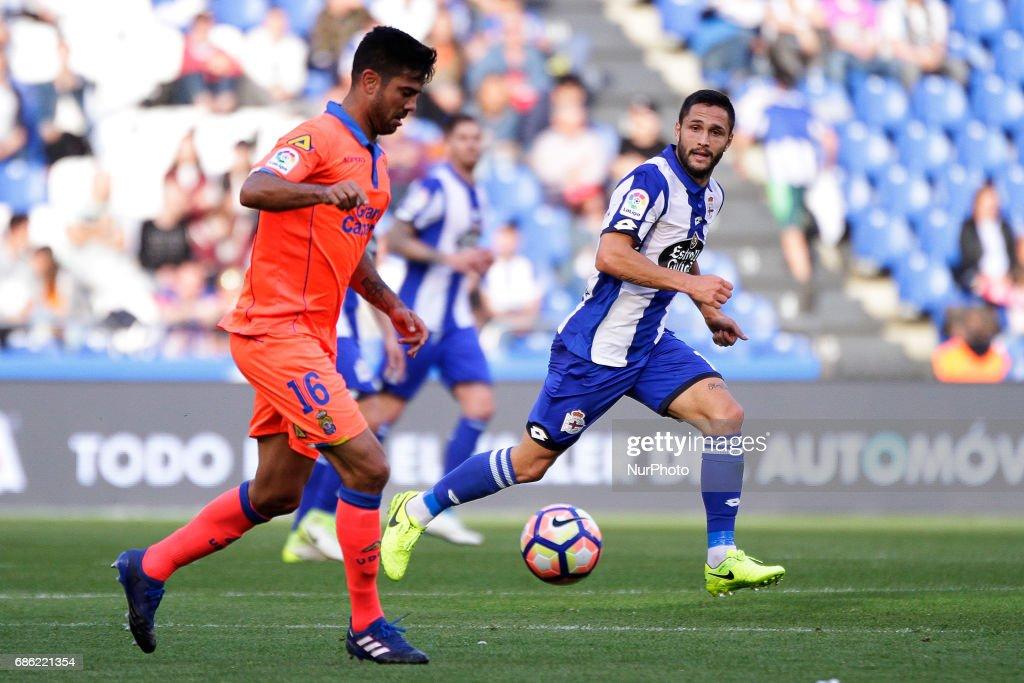 Aythami Artiles defender of Union Deportiva Las Palmas (16) controls the ball during the La Liga Santander match between Deportivo de La Coruña and Union Deportiva Las Palmas at Riazor Stadium on May 20, 2017 in A Coruña, Spain.