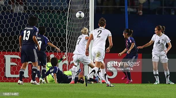 Ayu Nakada of Japan scores an own goal during the FIFA U20 Women's World Cup 2012 group A match between Japan and New Zealand at Miyagi Stadium on...