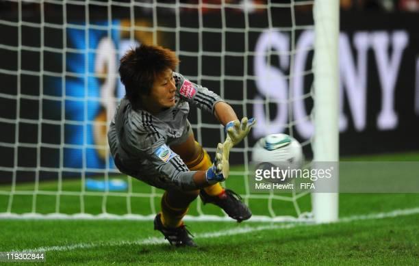 Ayumi Kaihori of Japan saves the 3rd penalty kick during the FIFA Women's World Cup 2011 Final match between Japan and USA at the FIFA World Cup...