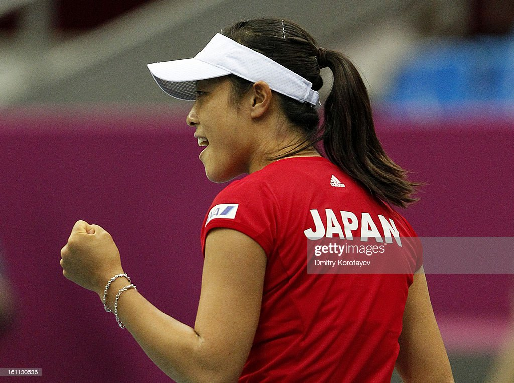 Ayumi Morita of Japan celebrates after winning against Ekaterina Makarova of Russia during day one of the Federation Cup 2013 World Group Quarterfinal match between Russia and Japan at Olympic Stadium on February 09, 2013 in Moscow, Russia.