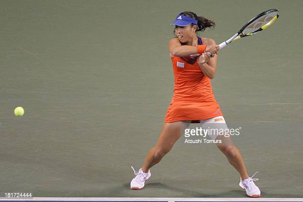 Ayumi Morita of Japan in action during her women's singles second round match against Jelena Jankovic of Serbia during day three of the Toray Pan...