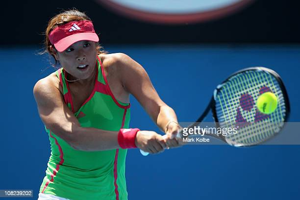 Ayumi Morita of Japan plays a shot in her third round match against Shuai Peng of China during day six of the 2011 Australian Open at Melbourne Park...