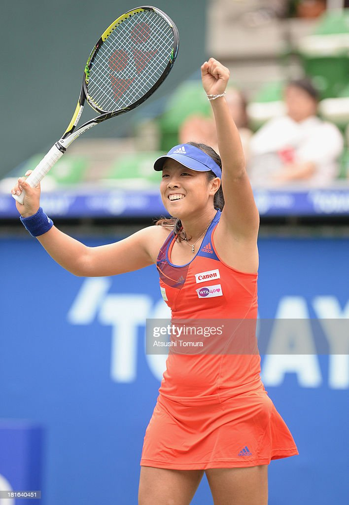 <a gi-track='captionPersonalityLinkClicked' href=/galleries/search?phrase=Ayumi+Morita&family=editorial&specificpeople=569402 ng-click='$event.stopPropagation()'>Ayumi Morita</a> of Japan reacts during her women's singles first round match against Laura Robson of Great Britain during day two of the Toray Pan Pacific Open at Ariake Colosseum on September 23, 2013 in Tokyo, Japan.