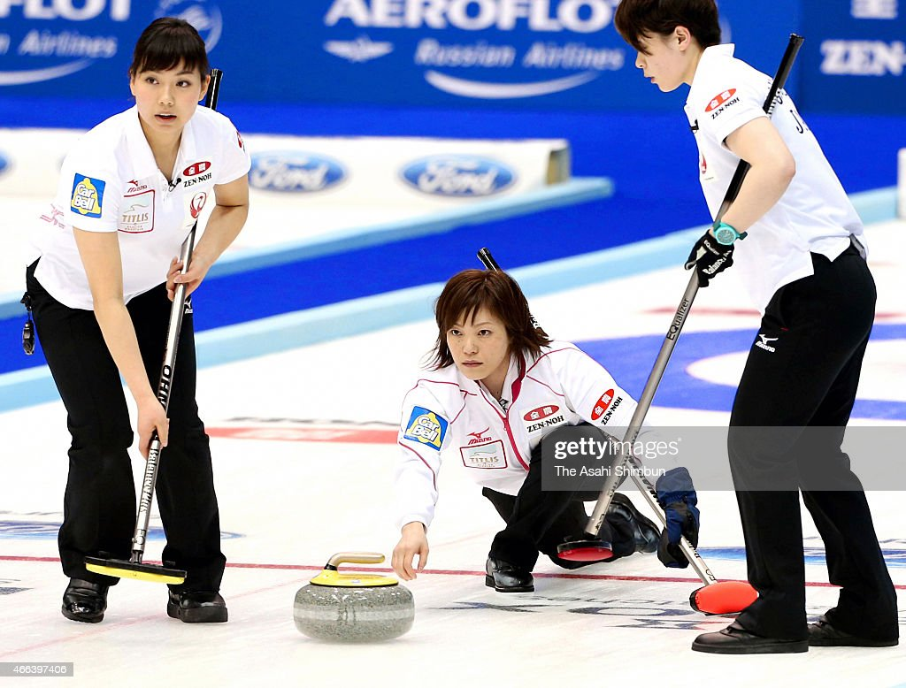 Ayumi Ogasawara of Japan delivers the stone during a roundrobin match between Japan and Scotland during day two of the World Women's Curling...