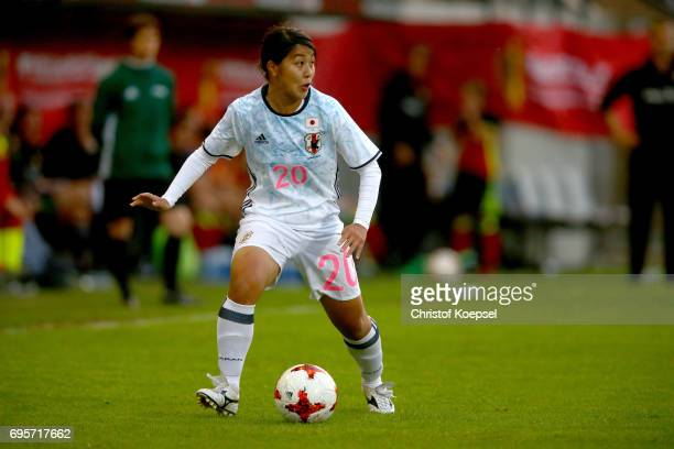 Ayumi Oya of Japan runs with the ball during the Women's International Friendly match between Belgium and Japan at Stadium Den Dreef on June 13 2017...