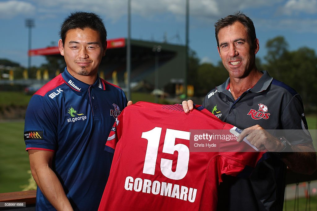 Ayumu Goromaru and Head Coach Richard Graham pose during a Reds Super Rugby media opportunity at Ballymore Stadium on February 8, 2016 in Brisbane, Australia.