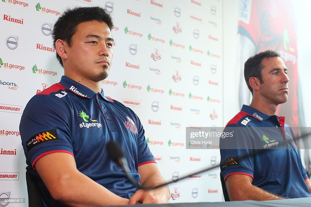 <a gi-track='captionPersonalityLinkClicked' href=/galleries/search?phrase=Ayumu+Goromaru&family=editorial&specificpeople=7301515 ng-click='$event.stopPropagation()'>Ayumu Goromaru</a> and Head Coach Richard Graham speak to media during a Reds Super Rugby media opportunity at Ballymore Stadium on February 8, 2016 in Brisbane, Australia.