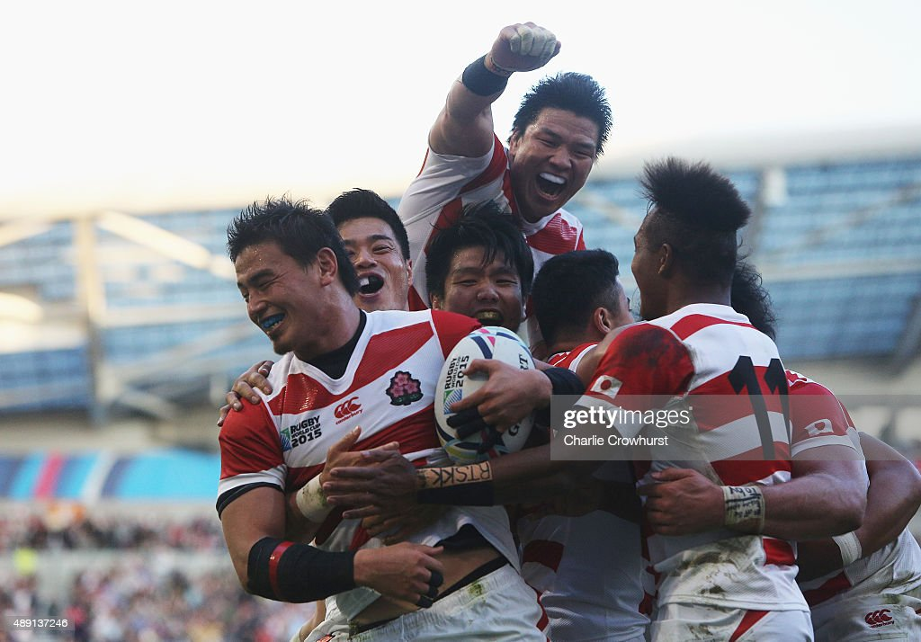 <a gi-track='captionPersonalityLinkClicked' href=/galleries/search?phrase=Ayumu+Goromaru&family=editorial&specificpeople=7301515 ng-click='$event.stopPropagation()'>Ayumu Goromaru</a> of Japan ceelbrates scoring the second try during the 2015 Rugby World Cup Pool B match between South Africa and Japan at the Brighton Community Stadium on September 19, 2015 in Brighton, United Kingdom.