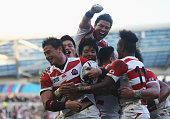 Ayumu Goromaru of Japan ceelbrates scoring the second try during the 2015 Rugby World Cup Pool B match between South Africa and Japan at the Brighton...