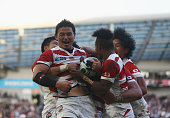 Ayumu Goromaru of Japan celebrates scoring the second try for Japan during the 2015 Rugby World Cup Pool B match between South Africa and Japan at...