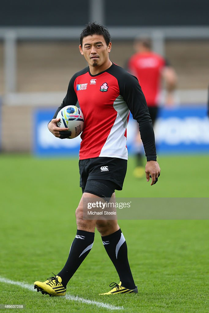 <a gi-track='captionPersonalityLinkClicked' href=/galleries/search?phrase=Ayumu+Goromaru&family=editorial&specificpeople=7301515 ng-click='$event.stopPropagation()'>Ayumu Goromaru</a> of Japan during the Captain's Run ahead of the Japan versus Scotland Pool B match at Kingsholm Stadium on September 22, 2015 in Gloucester, England.